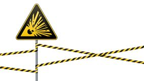 Caution - danger Warning sign safety. Explosive substances. yellow triangle with black image. sign on the pole and protecting ribb. Caution - danger Warning sign Royalty Free Stock Image