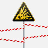 Caution - danger Warning sign safety. Explosive substances. A yellow triangle with a black image. The sign on the pole and protect. Caution - danger Warning sign Royalty Free Stock Images