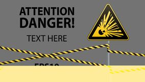 Caution - danger Warning sign safety. Explosive substances. yellow triangle with black image. sign on the pole and protecting ribb. Caution - danger Warning sign Royalty Free Stock Photography