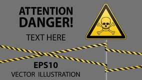 Caution - danger Warning sign safety. Poisonous and hazardous substances. Mortal danger - poison. yellow triangle with black image. Sign on pole and protecting Stock Photos