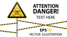 Caution - danger Warning sign safety. Poisonous and hazardous substances. Mortal danger - poison. yellow triangle with black image. Sign on pole and protecting Royalty Free Stock Photos