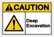 Caution Deep Excavation Symbol Sign, Vector Illustration, Isolate On White Background Label. EPS10 stock illustration