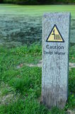 Caution deep water sign. Stock Image