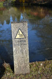 Caution deep water sign. Royalty Free Stock Photo