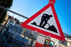 Caution digging sign. Camera angle view stock image