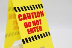 Caution do not enter signage. Isolated Royalty Free Stock Photography