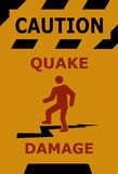 Caution earthquake damage sign Royalty Free Stock Image