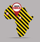 Caution EBOLA sign and Africa map. Showing the places where the virus began to spread Royalty Free Stock Photography