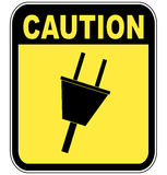 Caution electrical power. Yellow caution sign warning of power surge or electrocution - vector Royalty Free Stock Photos