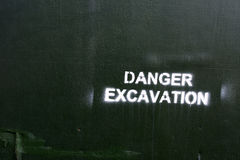 Caution excavations Royalty Free Stock Photo