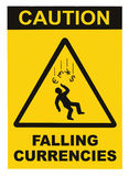 Caution Falling Currencies Objects Warning Sign Concept Isolated, black drop triangle over yellow, large macro, US Dollar, EU Euro Royalty Free Stock Photography