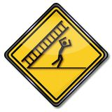 Caution falling ladder and misfortune. Caution falling ladder, accident and misfortune Royalty Free Stock Photography