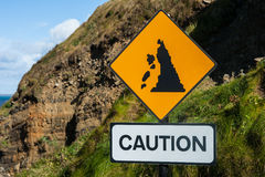 Caution, falling rocks sign Royalty Free Stock Photos