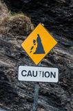 Caution falling rocks sign Stock Images