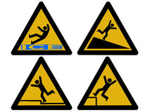 Caution falling signs Stock Photography