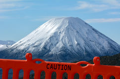 Caution fence around Mount Ngauruhoe in Tongariro National Park Royalty Free Stock Photo