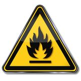 Caution fire, flame, flammable. And explosion Stock Image