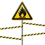 Caution - fire hazard Combustible environment. Flammable liquids or surface. Barrier tape. Vector illustrations. Caution - fire hazard Combustible environment Royalty Free Stock Image
