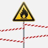 Caution - fire hazard Combustible environment. Flammable liquids or surface. Barrier tape. Vector illustrations. Caution - fire hazard Combustible environment Royalty Free Stock Images