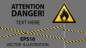 Caution - fire hazard Combustible environment. Flammable liquids or surface. Barrier tape. Vector illustrations. Caution - fire hazard Combustible environment Royalty Free Stock Photos
