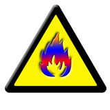 Caution fire sign. Stylized black and yellow caution fire sign Royalty Free Stock Image