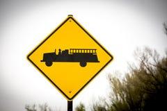 Caution. Firestation ahead road sign. USA stock photo