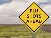 Caution - Flu Shots Ahead. Caution Sign - Flu Shots Ahead Royalty Free Stock Photo