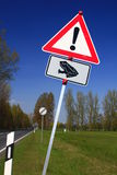 Caution frogs!. Road sign: Caution frogs on a road in Germany Stock Image