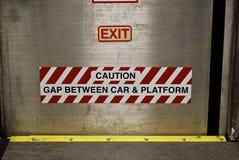 Caution gap between car and platform Stock Images