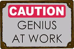 Caution  Genius at Work Royalty Free Stock Photography
