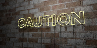 CAUTION - Glowing Neon Sign on stonework wall - 3D rendered royalty free stock illustration Royalty Free Stock Photo