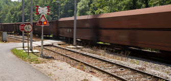 Caution going train Royalty Free Stock Photo