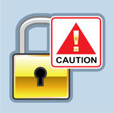 Caution Golden Lock vector Icon Royalty Free Stock Images