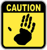 Caution hand sign Stock Image