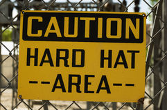 Caution Hard Hat Area Sign Stock Photo