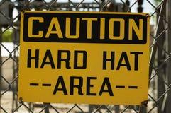 Caution Hard Hat Area Sign Stock Photo