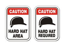 Caution hard hat required signs - safety signs Stock Image
