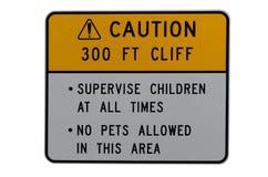 Caution hazardous cliff  alert sign Royalty Free Stock Photos