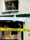 Caution Hazardous Materials Yellow Police Tape. By a crime scene stock photos
