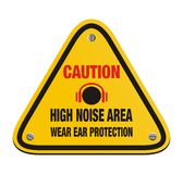 Caution high noise area - triangle sign Stock Photo