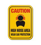 Caution high noise area - yellow sign Royalty Free Stock Photography