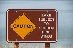 Caution High Winds Sign. Caution lake subject to high winds sign on the shore of Mono Lake Stock Image