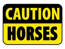 Caution Horses on Trail Sign Royalty Free Stock Photo