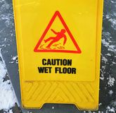 Caution ice - a sign for pedestrians in the winter royalty free stock image