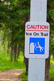 A caution, ice on trail sign Stock Photo