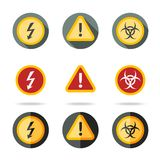 Caution icons set - high woltage, exclamation mark Stock Image