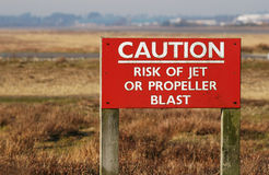 Caution - jet blast Stock Photo