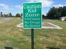 Caution Kid zone sign stock image