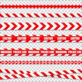 Caution lines isolated. Warning tapes. Danger signs. Vector Stock Image