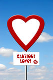 Caution Love sign Royalty Free Stock Images